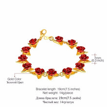 Load image into Gallery viewer, Red Rose Flowers Bracelet Femme Wrist Charm Chain Gold/Rose Gold/925 Silver Color Fashion Jewelry Bracelets For Women Mother'S Day Gifts