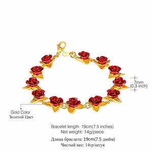 Red Rose Flowers Bracelet Femme Wrist Charm Chain Gold/Rose Gold/925 Silver Color Fashion Jewelry Bracelets For Women Mother'S Day Gifts