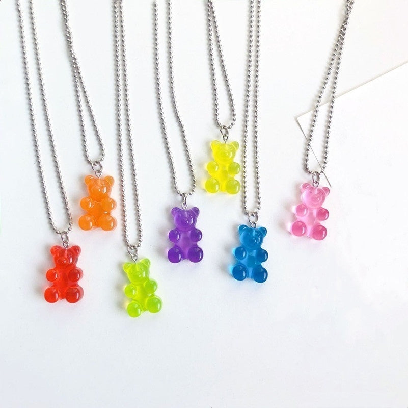 Fashion Women 1Pcs Metal Resin Cute Cartoon Bear Transparent Candy Color Chain Pendant Clavicle Necklace