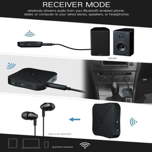 2 in 1 Bluetooth 4.2 Transmitter Receiver 3.5mm Wireless Stereo Audio Adapter AUX Car Stereo Music Audio Adapter Wireless Bluetooth Transmitter Receiver