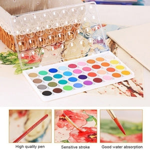 New High Quality Solid Watercolor Cake Outdoor Paint Pigment Set 12/16/28/36 Colors Set Transparent Box Watercolor Painting Supplies