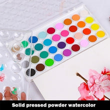 Load image into Gallery viewer, New High Quality Solid Watercolor Cake Outdoor Paint Pigment Set 12/16/28/36 Colors Set Transparent Box Watercolor Painting Supplies