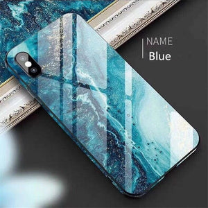 2019 Luxury Summer Quality 6Color Marbling Utra-thin tempered glass phone case Toughened glass with bumper Anti fall Shockproof Hard Phone Case For IPhone 6/6S IPhone7/8 Plus IPhone X/XS IPhone XR IPhone XS MAX