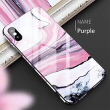 Load image into Gallery viewer, 2019 Luxury Summer Quality 6Color Marbling Utra-thin tempered glass phone case Toughened glass with bumper Anti fall Shockproof Hard Phone Case For IPhone 6/6S IPhone7/8 Plus IPhone X/XS IPhone XR IPhone XS MAX