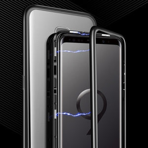 360¡ã Magnetic Protective Case magnetische Schutzh¨¹lle For Samsung Galaxy S8 S9 S10 Plus S10E S7 Edge Note 8 9 M30 M20 M10 A50 A70 A60 A30 A20 A10 A40S A8 Plus Magnetic Adsorption Tempered Glass Back Case Cover
