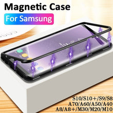 Load image into Gallery viewer, 360¡ã Magnetic Protective Case magnetische Schutzh¨¹lle For Samsung Galaxy S8 S9 S10 Plus S10E S7 Edge Note 8 9 M30 M20 M10 A50 A70 A60 A30 A20 A10 A40S A8 Plus Magnetic Adsorption Tempered Glass Back Case Cover