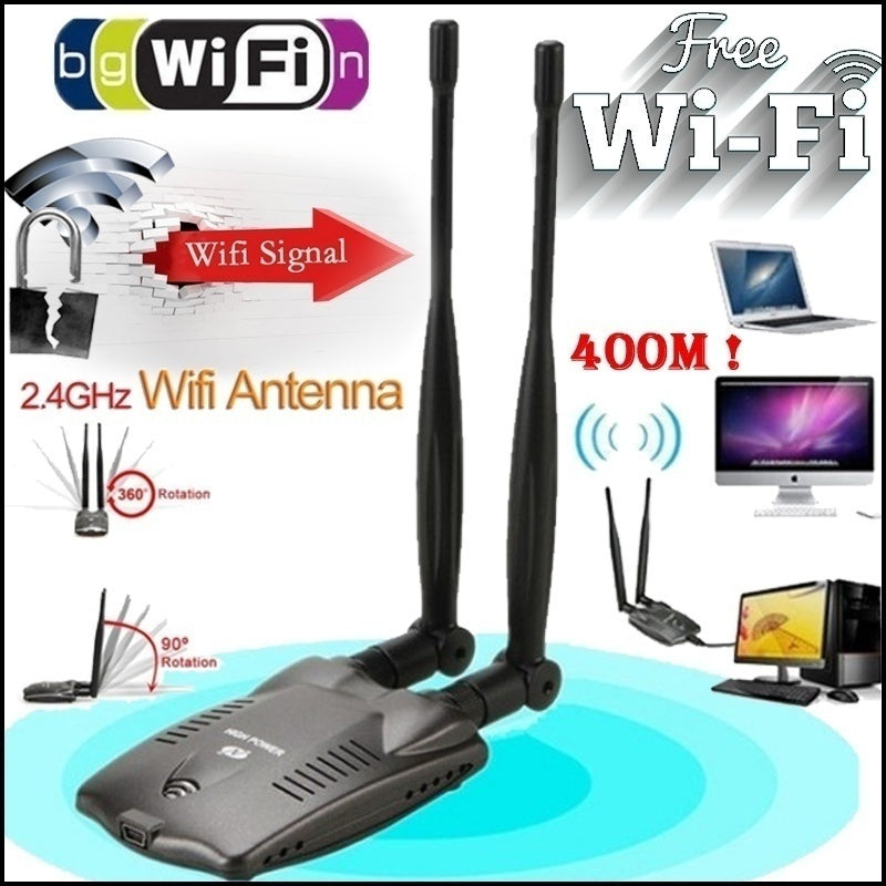High Power Free Internet Long Range 400m Password Cracking Beini Internet Long Range Dual Wifi Antenna USB Wifi Adapter Decoder Ralink 3070