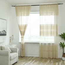 Load image into Gallery viewer, Stripe Sheer Window curtain panels Transparent Tulle Curtains Living Room Balcony Curtain Rod Pocket Drapes Thermal Insulated curtain Panels