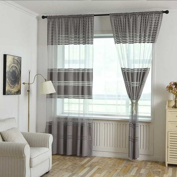 Stripe Sheer Window curtain panels Transparent Tulle Curtains Living Room Balcony Curtain Rod Pocket Drapes Thermal Insulated curtain Panels