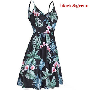 Sling Dress Summer V-neck Floral Pleated Strap Casual Pocket Large Dress
