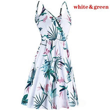 Load image into Gallery viewer, Sling Dress Summer V-neck Floral Pleated Strap Casual Pocket Large Dress