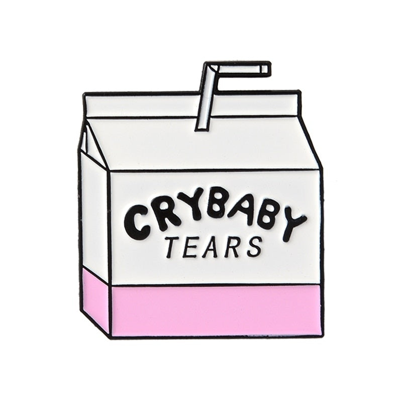 Pink Cute Cartoon Milk Box Coffee Cup Enamel Pins Witch's Brew Crybaby Tears French Fries Brooch Badge Lapel Pin Jewelry Gift for Milk Coffee Lovers