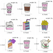Load image into Gallery viewer, Pink Cute Cartoon Milk Box Coffee Cup Enamel Pins Witch's Brew Crybaby Tears French Fries Brooch Badge Lapel Pin Jewelry Gift for Milk Coffee Lovers
