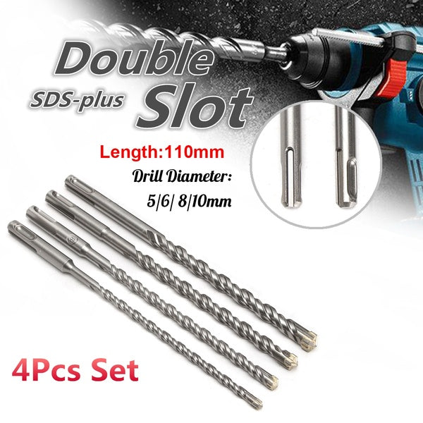 4Pcs 110mm Electric Hammer Drill Bits Double SDS Plus Slot Concrete Drill Bit  Masonry Head Tool