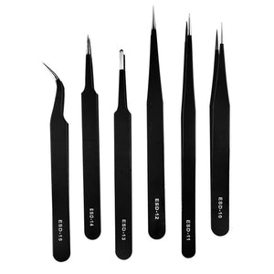 Precision Professional Anti-static  Stainless Steel Fine Super Tweezers for PCB Repairing / Makeup / DIY Crafts