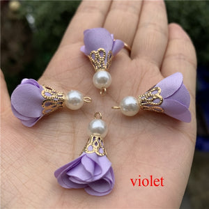 New Summer Colors  10 Pcs/lot  Pearl  Cloth Flower Tassels for Jewelry Making Earrings Making