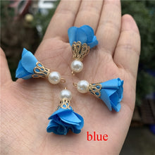 Load image into Gallery viewer, New Summer Colors  10 Pcs/lot  Pearl  Cloth Flower Tassels for Jewelry Making Earrings Making