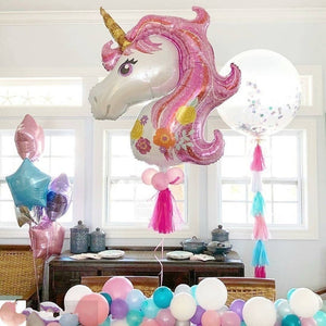 6pcs/lot Rainbow Gradient Unicorn Balloon 32 Inch Number Birthday Party Decorations Kids Unicorn Party Wedding Balloons