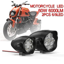 Load image into Gallery viewer, 2Pcs 6/9LED Motorcycle Headlight SpotLight 60W 6000LM/Pair 6000K White Driving Working Spot Lights Motorbike Scooters Fog DRL Lamp Bulb