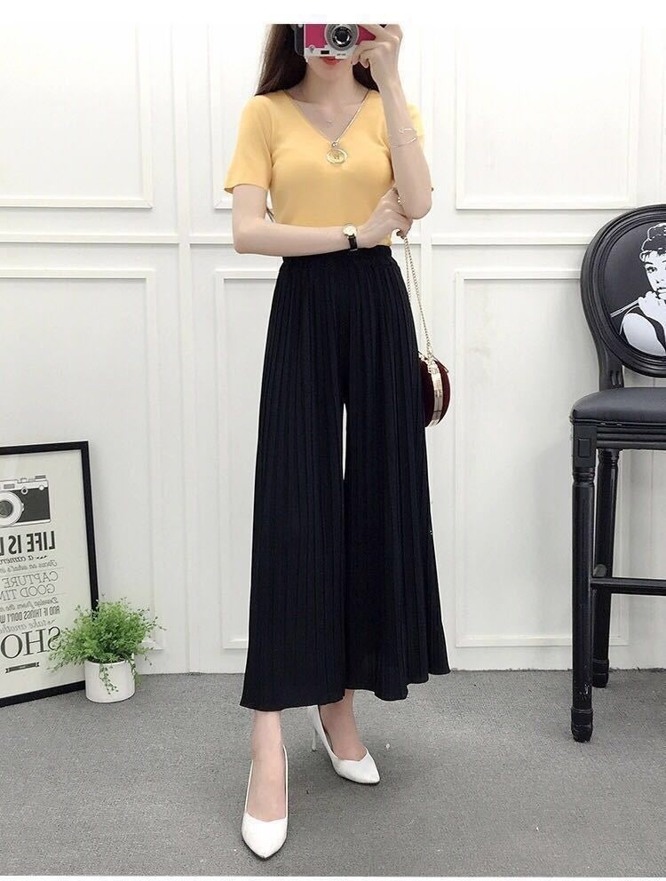 Wide Leg Pants Spring and Summer Models Modal Seven Wide Leg Pants Skirts Loose Large Size Women Home Rejection Pants Trousers