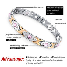 Load image into Gallery viewer, 4-IN-1 Womens Crystal Health Energy Magnetic Bracelet Stainless Steel Lady Yoga Bracelets Gift for Girls