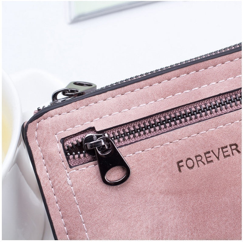 Elegant Ladies Bifold Leather Wallet Small Zipper Wallet Short Clutch Coin Purse