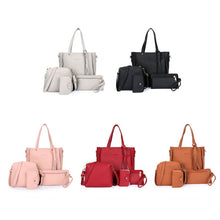 Load image into Gallery viewer, 2019 new fashion 4 pieces / set: women's handbag + Messenger bag + handbag + daily card package supplies clip (5 colors)