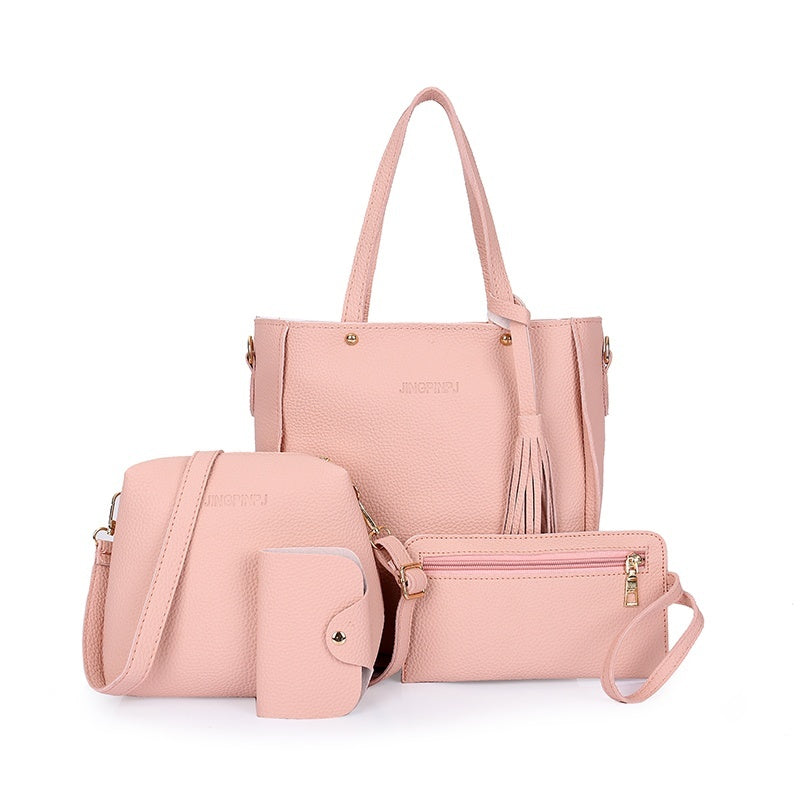 2019 new fashion 4 pieces / set: women's handbag + Messenger bag + handbag + daily card package supplies clip (5 colors)