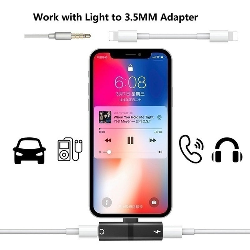 2 in 1 lightning adapter for iPhone 7/7 Plus/8/8 Plus/X/XR/XS/XS MAX, Dual Jack Aux Audio & Charging & Calling & Sync Cable Connector Earphone Charger