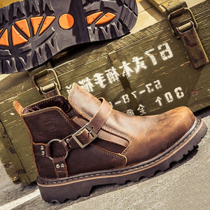 Men Classis Desingn Cowhide Boots Retro Style Short Boots Super Top Qualit? Tooling Boots Genuine Leather botas