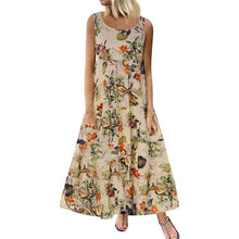 Load image into Gallery viewer, XS-5XL Plus Size Summer Women Sleeveless Floral Printed Dress Casual Loose Round Neck Bohemian Long Beach Dresses