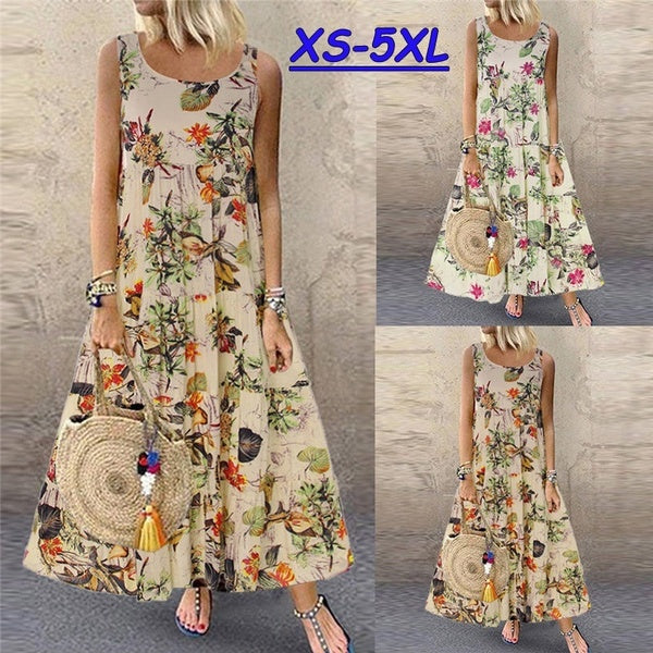 XS-5XL Plus Size Summer Women Sleeveless Floral Printed Dress Casual Loose Round Neck Bohemian Long Beach Dresses