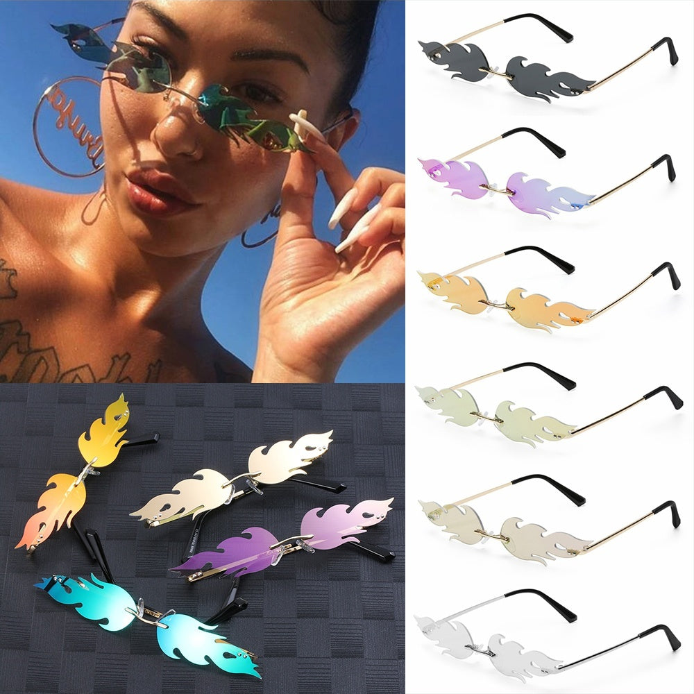 1pc UV 400 Streetwear Trending Narrow Sunglasses Wave Sun Glasses Rimless Fashion Sunglasses Fire Flame