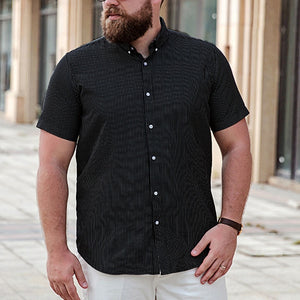 Black,Yellow Men's big size striped short-sleeved shirt summer loose open buttons tshirts turn down collar