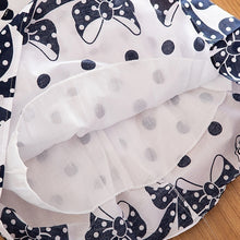 Load image into Gallery viewer, Kids Girls Summer Sleeveless Cotton Vintage Style Blue White Polka Dot Casual Dresses with Bow for 4-12Y