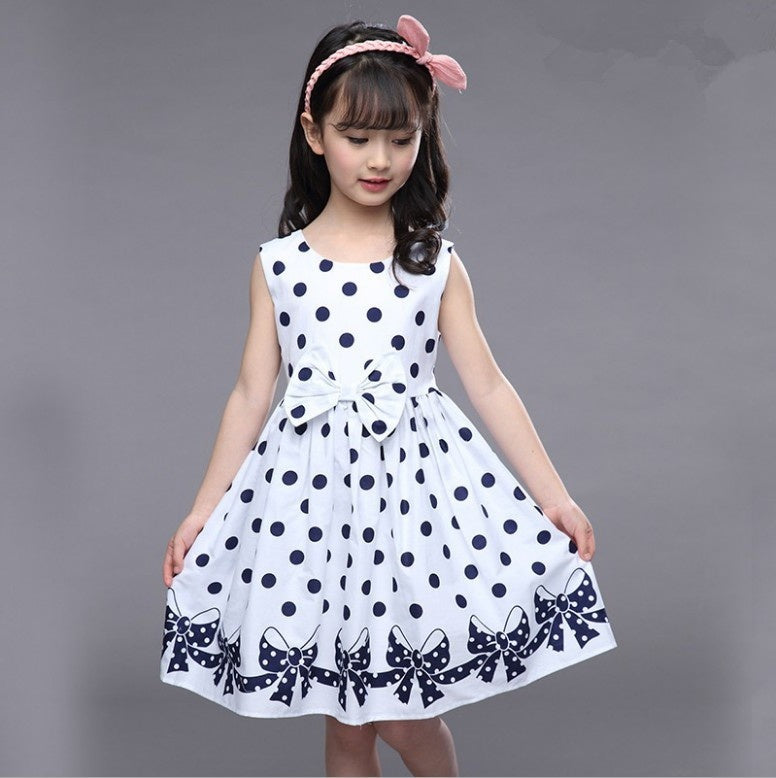 Kids Girls Summer Sleeveless Cotton Vintage Style Blue White Polka Dot Casual Dresses with Bow for 4-12Y