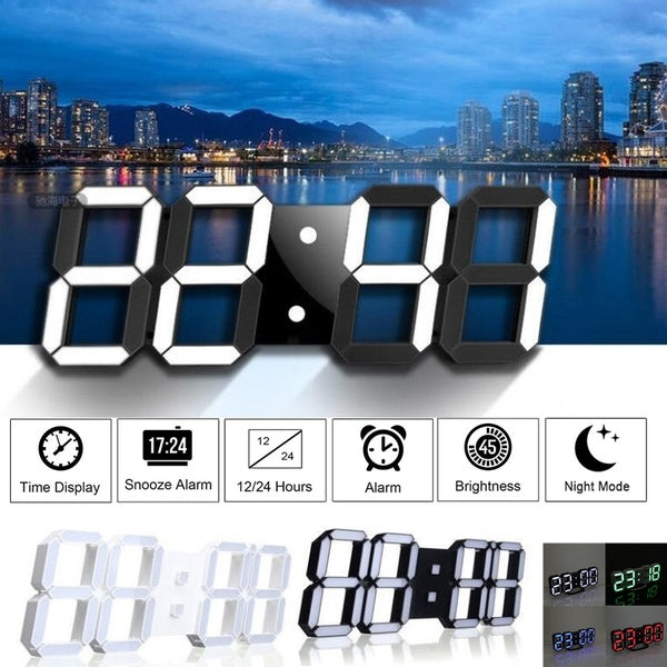 LED Digital Numbers Wall Clock with 3 levels Brightness Alarm Snooze Clock