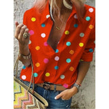 TY Women Fashion Point Tops Half Sleeve T Shirts Casual V Neck Blouses