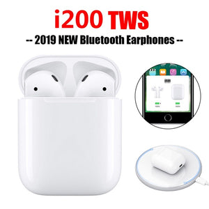 White i200 TWS Wireless Charging Headset Bluetooth 5.0 6D Bass Earphone With Charging Box