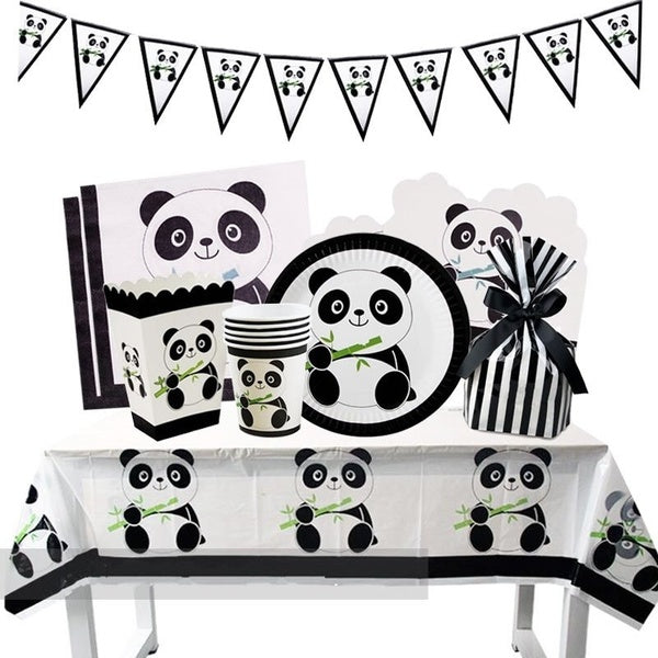New Arrival  Cartoon Panda Birthday Party Disposable Tableware Set Birthday Panda Party Decoration Kids Set Towel Party Supplies Home Decor