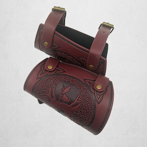 Viking Tree of Life Embossed Leather Arm Armor LARP Studs Leather Medieval Bracer