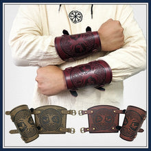Load image into Gallery viewer, Viking Tree of Life Embossed Leather Arm Armor LARP Studs Leather Medieval Bracer