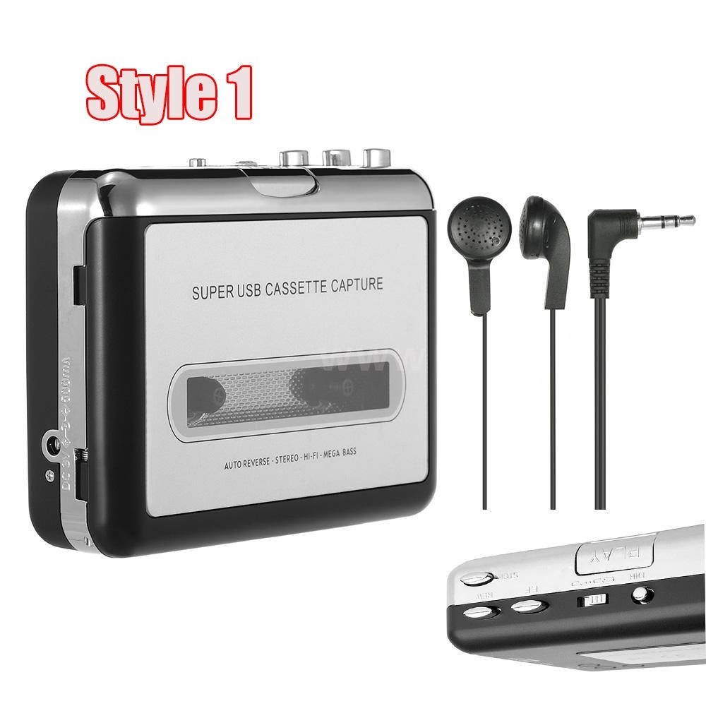 Cassette Tape-to-MP3 Converter into Computer / USB Flash Disk Auto Partition Standalone Recorder with Earphone