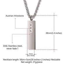 Load image into Gallery viewer, Creative Souvenir Stainless Steel Perfume Bottle Zircon Diamond Pendant Necklace Commemorative Ashtray Storage Bottle Men's and Women's Jewelry