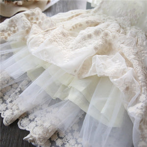 3-8 Years Little Princess Girls Summer Sweet White Lace Floral Tulle Tutu Dress for Casual Birthday Holiday Wear