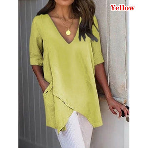 Women Summer Irregular T-shirt Casual Loose V-neck Middle Sleeve T-shirt