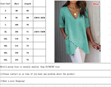 Load image into Gallery viewer, Women Summer Irregular T-shirt Casual Loose V-neck Middle Sleeve T-shirt
