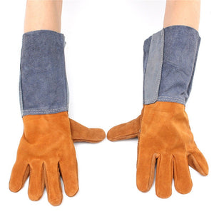 1 Pairs Soft Double Anti-plush Cowhide Welding Protective Safe Long Gloves Welding Protective Gear