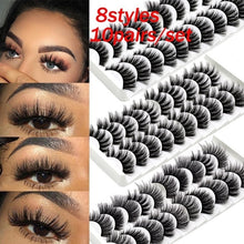 Load image into Gallery viewer, 8 Styles 10Pairs Multipack Natural False Eyelashes Soft Cross Mink Lashes Multilayer Fake Mink Eyelashes Women Makeup Tools