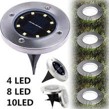 Load image into Gallery viewer, 4 LED/8 LED/10 LED Durable Waterproof Garden Decor Ground Lights Solar Power Buried Light Outdoor Lighting Underground Lamps